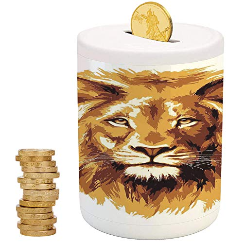 Safari Decor,Piggy Bank,Printed Ceramic Coin Bank Money Box for Cash Saving,Illustration of The Lion King Biggest Cat in Africa Icon Animal in Tropics Artwork ()