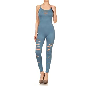 9cd9e4b4bb3b Leggings Depot Premium Quality Jersey Tank Unitard Jumpsuit Romper Gym