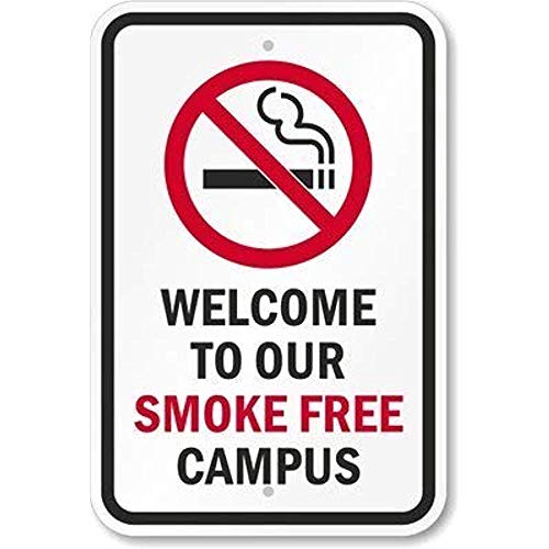 (NDTS Metal Deco Sign 12x16 inches Welcome to Our Smoke Free Campus Sign Aluminum Metal Tin)