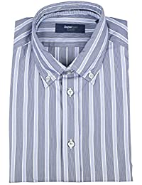 Z Zegna Sport Blue Striped Cotton Blend Slim Fit Dress Shirt Size Small