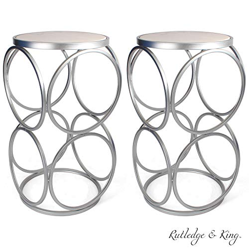 lver End Table with Marble Top - Round Accent Table - Silver and Marble Metal Side Table - Rutledge & King Britton End Table (Marble/Silver) 2 Pack ()