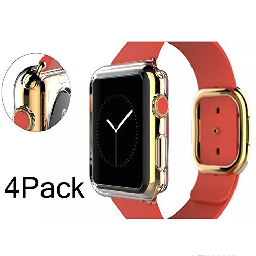 Apple Watch Case 42mm CaseHigh Shop Thinnest Most Lightweight Screen Protector case Cover TPU Slim All-around Protective Cases Fit for Apple Watch / Watch Sport / Watch 2015(42mm) Crystal Clear 4Pack (Series 42