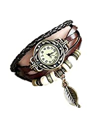 ODGear Women Girl Vintage Watches, Bracelet Wristwatches leaf Pendant Coffee