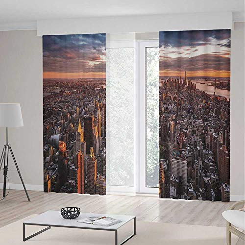 USA Room Decor Curtains,Aerial View of the Manhattan Skyline at Sunset Famous Financial District NYC,Living Room Bedroom Curtain 2 Panels Set,104 W 84 L,Blue Orange White -