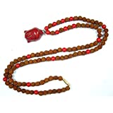 Rudraksha Coral Beads Protection Malas Buddha Pendant Necklace