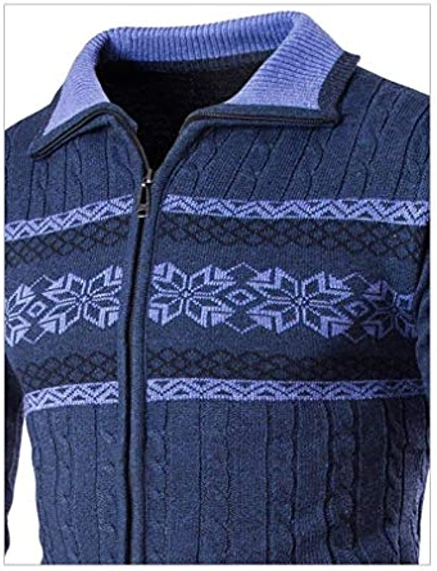 Lannister Fashion męska kurtka z długim rękawem, casual cardigan płaszcz dzianinowy zamek błyskawiczny kołnierz stÓjka odzież z swetrem outwear coat: Odzież