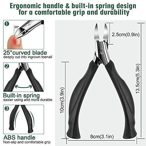 Toenail Clippers for Ingrown Toenails, Heavy Duty Nail Clippers for Thick Nails Podiatrist Toenail Clippers Toe Nail Clipper for Seniors Toenail Trimmer Super Sharp Toe Nail Clippers Set