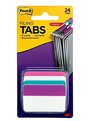 Post-it Tabs, 2-Inch Solid, Assorted Primary Colors, 6-Tabs/Color