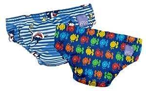 Bambino Mio - Bañador pañal (reutilizable, 1-2 años), diseño de ballenas y tiburones, color azul