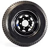 "eCustomRim Eco Trailer Tire & Rim ST205/75D15 15"" Load C 5 Lug Black Spoke 58879"