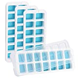OMorc Ice Cube Trays 4 Pack [Upgraded Version], Easy-Release Silicone and Flexible 14-Ice Trays with Unique Removable Lid, Make Larger Ice Cubes, BPA Free, Stackable Durable and Dishwasher Safe