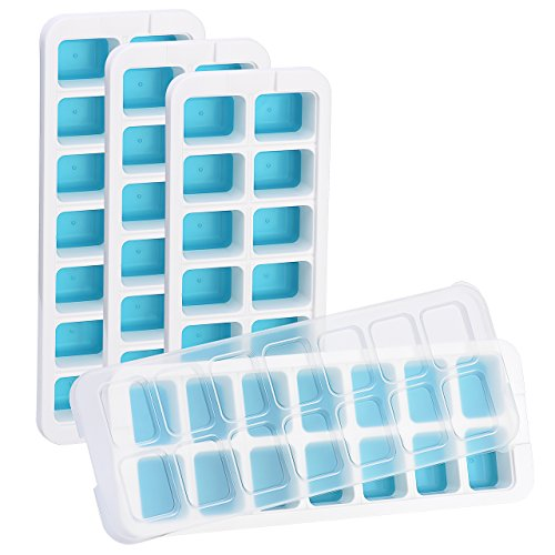 OMorc Ice Cube Trays 4 Pack [Upgraded Version], Easy-Release Silicone and Flexible 14-Ice Trays with Unique Removable Lid, Make Larger Ice Cubes, BPA Free, Stackable Durable and Dishwasher Safe by OMORC (Image #7)