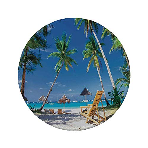"""Non-Slip Rubber Round Mouse Pad,Seaside,Sun Bed Under Palm Trees Tropical Oceanside in Boracay Island Image Print,Green Blue and White,11.8""""x11.8""""x5MM"""