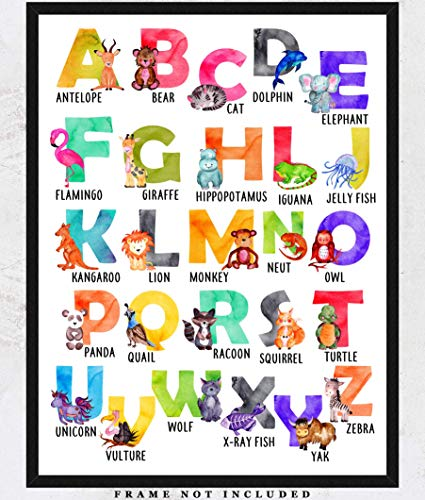 Watercolor Animal Alphabet Wall Art Prints: Adorable Nursery Room Decor - (11x14) Unframed Picture - Great Gift Idea for Nursery and Kids - Art Poster Animal Vintage