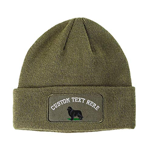 Custom Text Embroidered Newfoundland Unisex Adult Acrylic Double Layer Patch Beanie Skully Hat - Olive Green, One Size