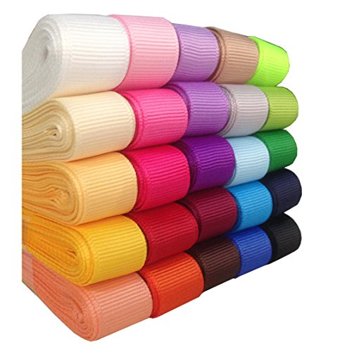DUOQU 75yd (25x3yd) 3/8 Solid Grosgrain Ribbon Polyester 25 Colors Assorted