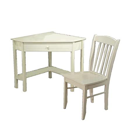 Simple Living Wooden 2 Piece Corner Study Desk and Chair Set, Antique White - Amazon.com: Simple Living Wooden 2 Piece Corner Study Desk And Chair