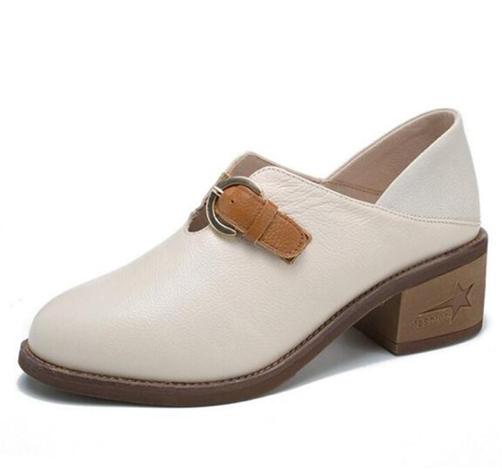 Zapatos de mujer piel genuina Block Heel Hebilla del cinturón Oxford Oficina Tamaño 35 a 39 , beige , EU37 EU37|beige