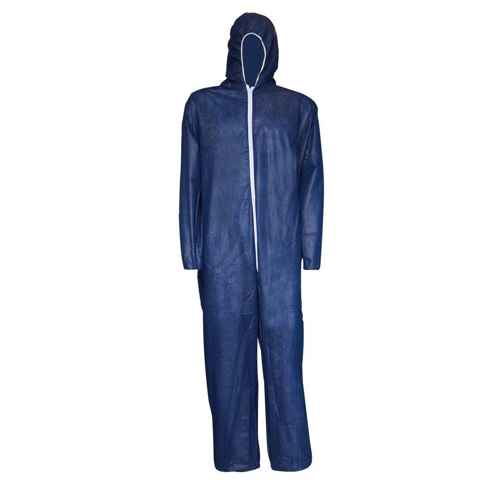 Raygard 30003 Polypropylene PP Disposable Chemical Protective Hooded Coverall Suit with Elastic Wrist, Ankles Zipper Front Closure for Spray Painting Food Service(X-Large,Dark Blue,Pack of 25)