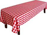 #8: Checkers Style Tablecloth - 100 Percent Polyester Rectangular Table Cover - Red and White Checkers - 60 x 126 Inches - by Utopia Home