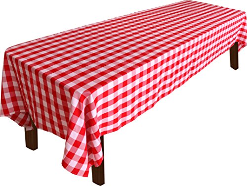 Checkers Style Tablecloth - 100 Percent Polyester Rectangular Table Cover - Red and White Checkers - 60 x 126 Inches - by Utopia Home (Red Checker)