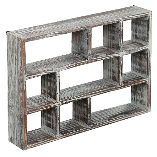 MyGift 15-Inch 9-Compartment Rustic Wooden Freestanding & Wall Mountable Shadow Box Display Shelf