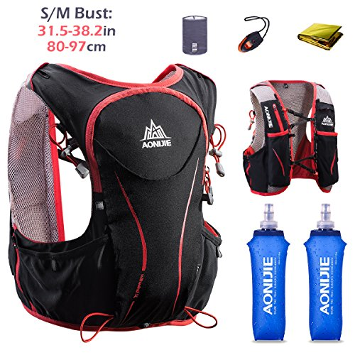 TRIWONDER Hydration Pack Backpack 5L Lightweight Deluxe Marathoner Running Race Hydration Vest (Black (S-M) - with 2 Soft Water Bottles)