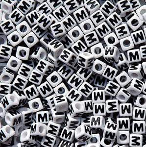 100pc 7mm Alphabet Beads White with Glossy Black Letters Letter S