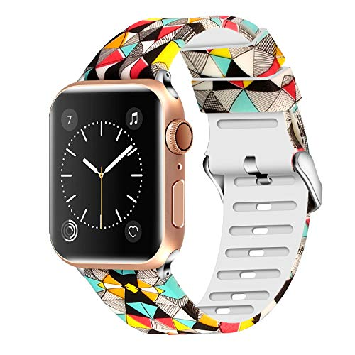 Lwsengme Compatible with Apple Watch Band 38mm 40mm 42mm 44mm, Soft Flower Printed Replacement Sport Wristbands Compatible with Apple Watch Series 4,Series 3,Series 2,Series 1 ()