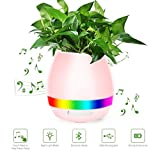 Effun Music Flower Pot, Play Piano On A Real Plant, Smart Colorful LED Night Light Round Plant Pots, Bluetooth Wireless Speaker For Indoor Outdoor Office Home Decor (Without Plants) Pink