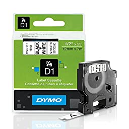 DYMO Standard D1 45013 Labeling Tape ( Black Print on White Tape , 1/2\'\' W x 23\' L , 1 Cartridge)