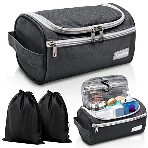 Travel Toiletry Bag - Small Portable Hanging Cosmetic Organizer for Men & Women | Makeup, Toiletries, Hygiene Accessories, Shaving Kit, Clippers & Grooming Tools | Waterproof | Bathroom, Shower, Gym