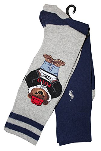 Polo Ralph Lauren Men's 2-Pack Millennial 1992 Polo Bear Solid Dress Sock, Sweatshirt (Ralph Lauren Mens Pullover)