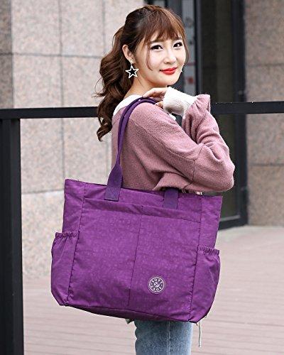 Nylon Water Resistant Multi Pockets Large Lightweight Tote Bag Shoulder Bag Waterproof Handbags (LightGray HB) by MORHUA (Image #6)