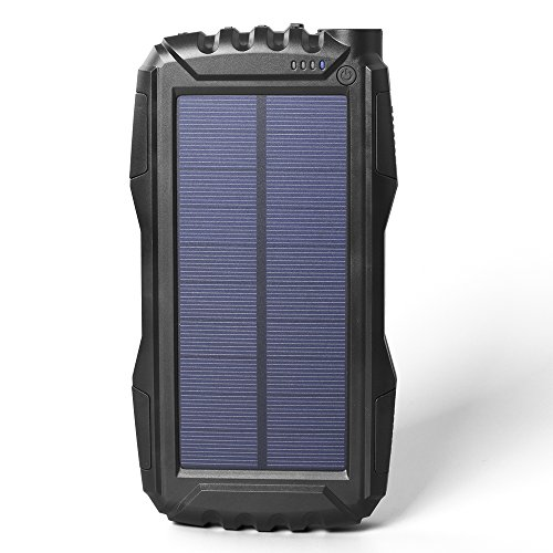 Elzle 25000mAh mobile Solar energy Bank twin USB production Battery Bank by methods of  effective LED light, Outdoor Solar Charger contact External Battery Shockproof/Dustproof for iPhone Series,Smart Phone,More