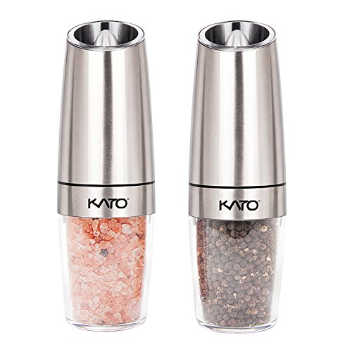Kato Gravity Electric Salt and Pepper Grinders Set - Battery Operated, Stainless Steel & Acrylic Body Automatic Pepper Mills with Blue LED Light and Free Garlic Peeler, Silver