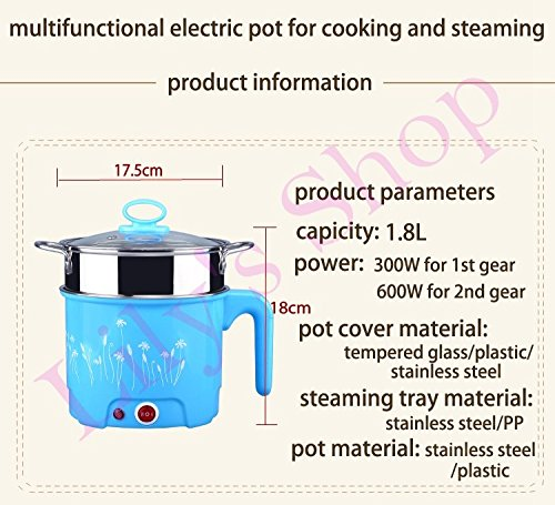DMWD Multifunction electric Skillet Stainless Steel rice Cooker Steamed egg Hotpot noodles Soup pot MINI heating pan 1.8L EU US (type B)