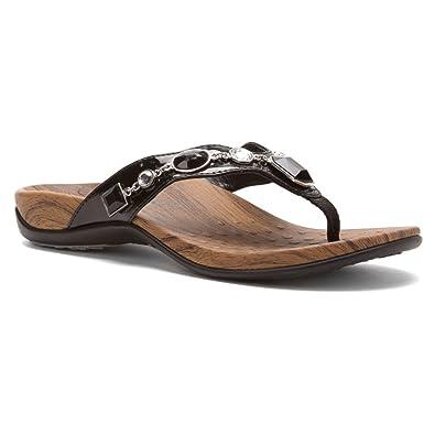 05a8c12240ba Vionic with Orthaheel Technology Womens Eve Toe Post Black Sandal - 8 W