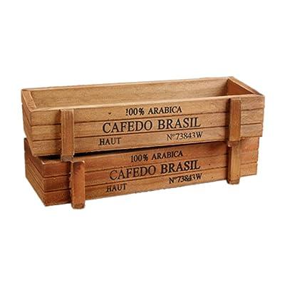 2PCS Wood Succulent Planter Plant Container Box Rectangular Flower Bed Pot (Color 1) : Garden & Outdoor