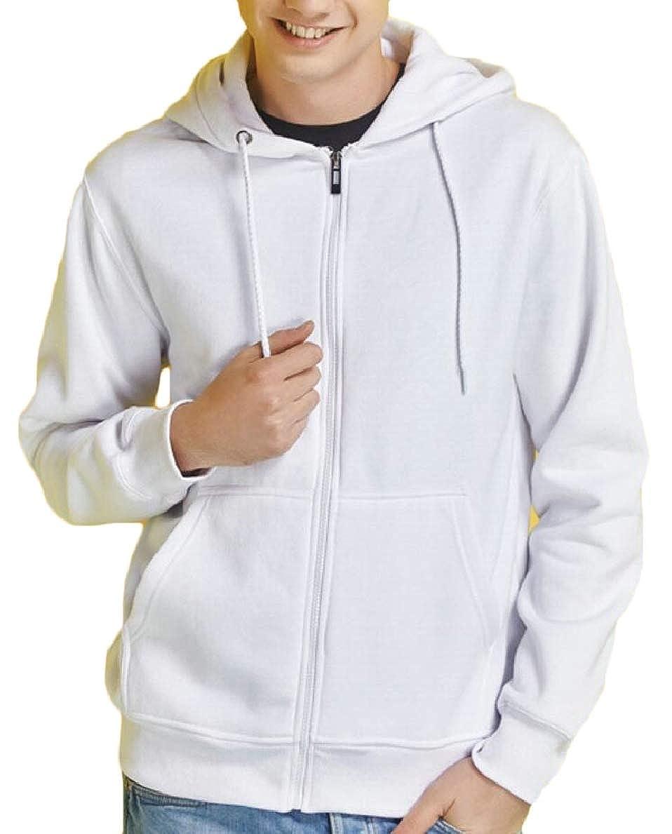 FLCH+YIGE Mens Casual Hoodies Zipper Winter Thicken Warm Hooded Sweatshirt Jackets White XS