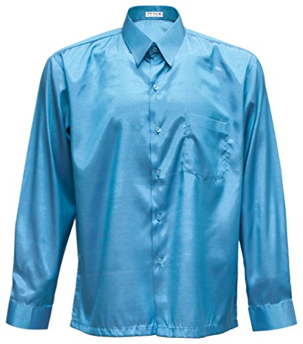 Homme Silk Turquoise Chemise Boutonné Casual Col Thai qXxYdwZX