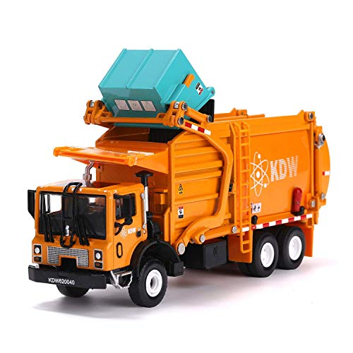 Garbage Truck Toy Model, 1:43 Scale Metal Diecast Recycling Clean Trash Garbage Rubbish Waste Transport Truck Alloy Model Mold Car Toy with Garbage Cans for Kids Toddlers Birthday Party Supplies ()