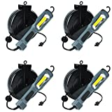 Case of 4 Super Bright 1300 LUMEN RETRACTABLE COB LED CORD REEL TASK LIGHT ALERT STAMPING 5030AM