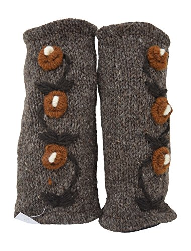 Floral Insulated Lined Wool Knit Arm Warmer Texting Fingerless Gloves Thumb Hole Hand Mittens