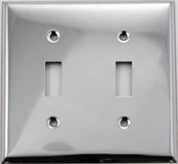 Polished Chrome 2 Gang Toggle Switch Wall Plate 2 Toggles