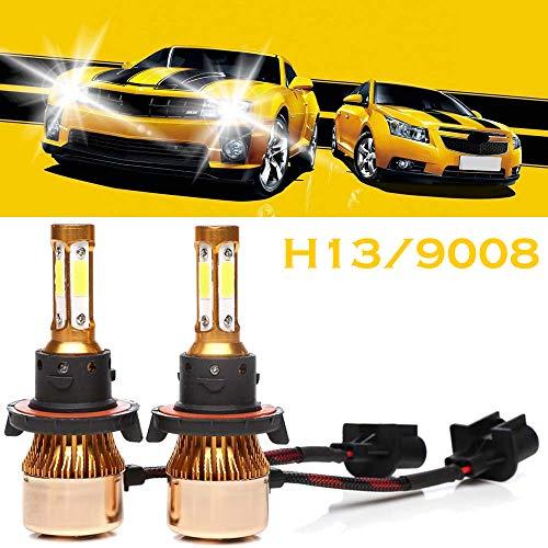 H13 9008 LED Headlight Bulbs 6500K White 4-side of Super Bright LED Chips High Low Beam Fog Light 200W 20000LM -2 Year Warranty (2 Pcs)