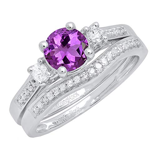 (Dazzlingrock Collection 10K 6 MM Round Amethyst, White Sapphire & Diamond Ladies 3 Stone Ring Set, White Gold, Size 7)