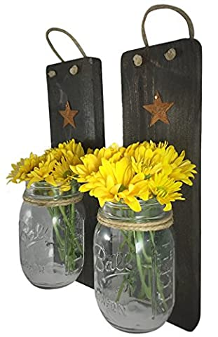 Heartful Homes Rustic Wood Bathroom Wall Decor - Pair Primitive Mason Jar Organizers -#1 Decorative Accessories Set for Country, Western, Vintage, and Outhouse Style - Toothbrush Holder (His And Her Bathroom Decor)