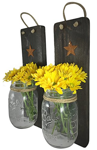 Heartful Home Rustic Wall Decor Wood Wall Sconces Set of 2 - Use for Candles, Flower Vases, Decorative Organizer, Housewarming & Wedding Gift (Jacobean)