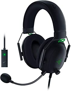 Razer BlackShark V2 Gaming Headset: THX 7.1 Spatial Surround Sound - 50mm Drivers - Detachable Mic - for PC, PS4, Nintendo Switch - 3.5 mm Headphone Jack & USB DAC - Classic Black (Renewed)